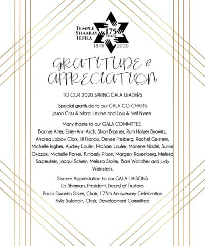 GRATITUDE & APPRECIATION 2020 SPRING GALA